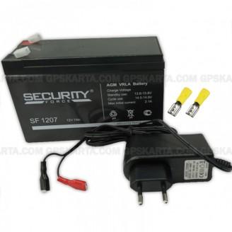 Аккумулятор 12В + ЗУ 220В + клеммы набор для эхолотов, картплоттеров, навигаторов