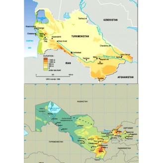 Узбекистан, Туркменистан 2019 - карта для навигаторов GARMIN