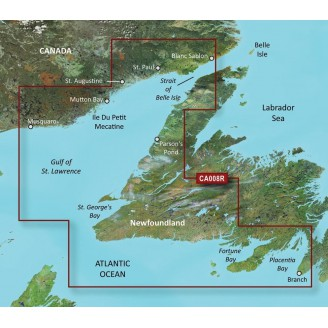 Ньюфаундленд запад. часть, Канада, Залив Св. Лаврентия VCA008R BlueChart G2 Vision