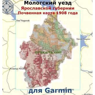 Почвенная старинная карта Мологского уезда 1908г