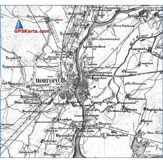 Топографическая старинная карта Новгородской губернии 1917г