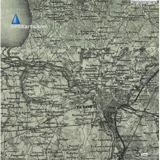 Топографическая старинная карта Псковской губернии 1880г