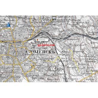 Топографическая старинная карта Смоленской губернии 1860-80гг