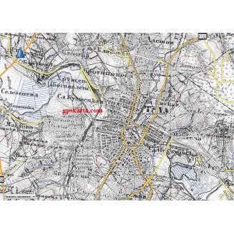 Топографическая старинная карта Тульской губернии 1913г