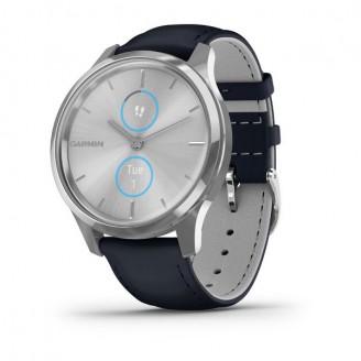 Garmin Vivomove Luxe серебристый с итальянским кожаным темно-синим ремешком (010-02241-20)