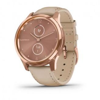 Garmin Vivomove Luxe розовое золото PVD 18K со светло-песочным ремешком из итальянской кожи (010-02241-21)