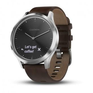 Garmin Vivomove HR серебряные с темно-коричневым кожаным ремешком (010-01850-24)