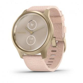 Garmin Vivomove Style светло-золотистый с плетеным нейлоновым розовым ремешком (010-02240-22)