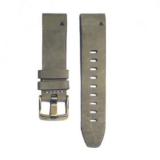 Ремешок сменный Garmin QuickFit 20 замша, серый с золот. пряжкой (010-01685-20)
