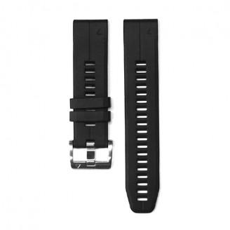 Ремешок сменный Garmin QuickFit 22 силикон, черный с серебристой пряжкой OEM (010-01988-20)