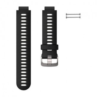 Ремешок сменный Garmin Forerunner 735XT, 230, 235, 630 силикон, черно-серый (010-11251-OK)