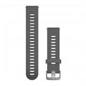 Ремешок сменный Garmin QuickRelease 20 силикон, тем.-серый с стальной пряжкой OEM (010-11251-1N)