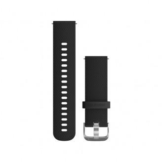 Ремешок сменный Garmin QuickRelease 20 силикон, черный с серебр. пряжкой OEM (010-12561-02)