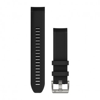 Ремешок сменный Garmin MARQ силикон, черный с серебряной пряжкой OEM (010-12738-05)