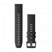 Ремешок сменный Garmin QuickFit 22 силикон, черный с черной пряжкой OEM (010-12863-00)