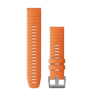 Ремешок сменный Garmin QuickFit 22 оранжевый, серебр. пряжка (010-12863-11)