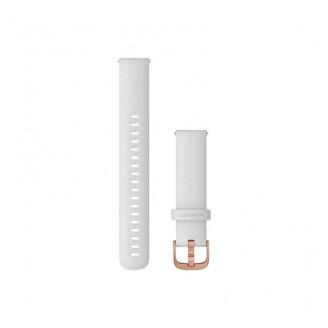 Ремешок сменный Garmin QuickRelease 18 силикон, белый с розовое золото пряжкой OEM (010-12932-02)