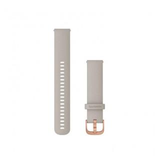 Ремешок сменный Garmin QuickRelease 20 силикон, св.песочный с розовое золото пряжкой OEM (010-12932-12)