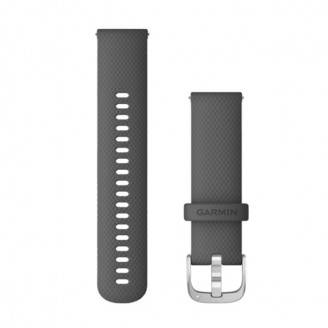 Ремешок сменный Garmin QuickRelease 22 силикон, серый с серебристой пряжкой OEM (010-12932-20)