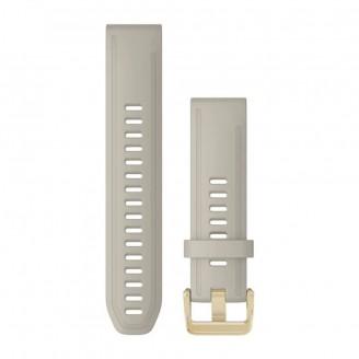 Ремешок сменный Garmin QuickFit 20 силикон, серый с золотой пряжкой (010-13027-00)