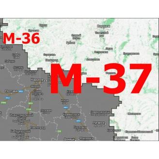 Квадрат М-36/М-37 Масштаб 1:25000 (250-метровки)