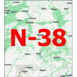 Квадрат N-38 Масштаб 1:25000 (250-метровки)