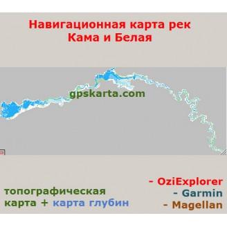 Карта глубин рек Кама и Белая