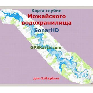 Карта глубин Можайского водохранилища SonarHD