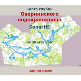 Карта глубин Озернинского водохранилища SonarHD