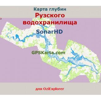 Карта глубин SonarHD Рузского водохранилища