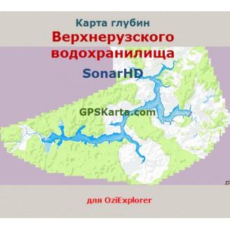 Карта глубин SonarHD Верхнерузского водохранилища