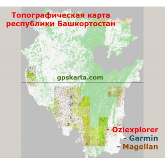 Республика Башкортостан топографическая карта для смартфонов, планшетов и навигаторов (OziExplorer)