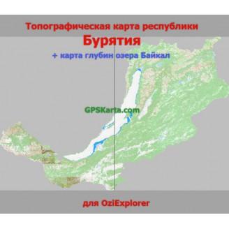 Республика Бурятия + глубины озера Байкал топографическая карта для смартфонов, планшетов и навигаторов (OziExplorer)