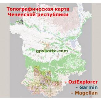 Чеченская Республика топографическая карта для смартфонов, планшетов и навигаторов (OziExplorer)