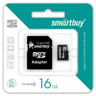 Карта памяти Micro SDHC 16Gb SmartBuy + адаптер SD
