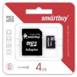 Карта памяти Micro SDHC 4Gb SmartBuy + адаптер SD
