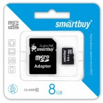 Карта памяти Micro SDHC 8Gb SmartBuy + адаптер SD